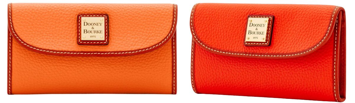 red and orange dooney and burke clutch