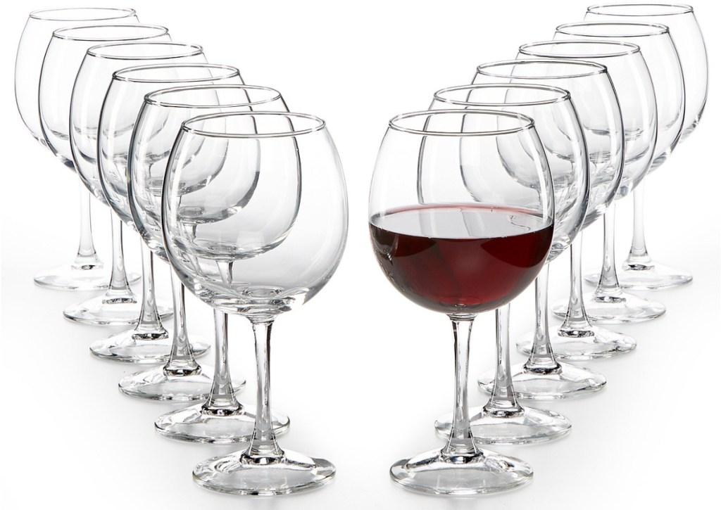 set of red wine glasses