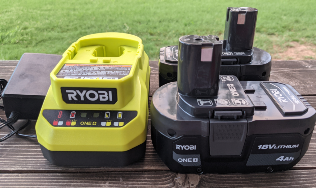 batteries and charger for tools outside
