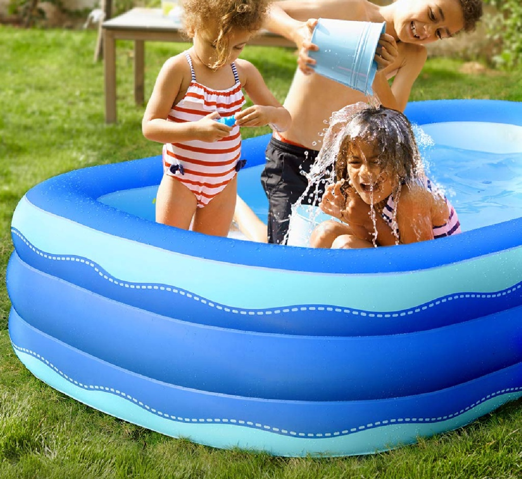 """sable pool 92"""" w/ kids in it"""