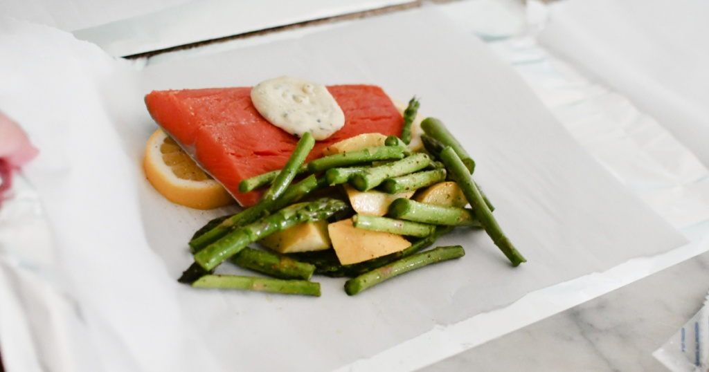 salmon foil packet meal before grilling