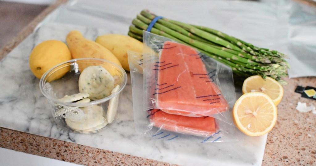salmon tin foil dinner ingredients