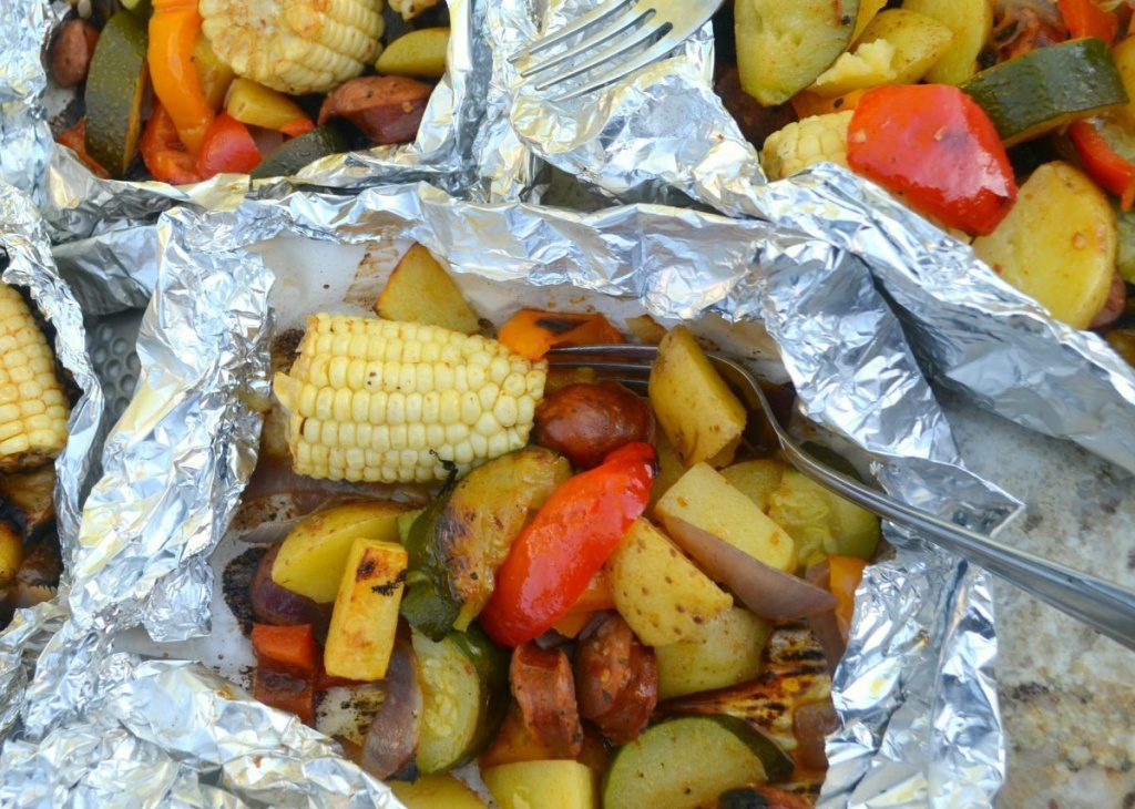 sausage and veggie foil packet meal after grilling