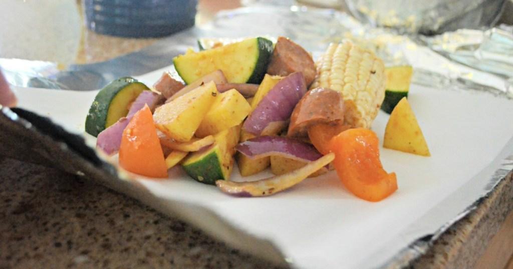 sausage and veggie tin foil meal idea