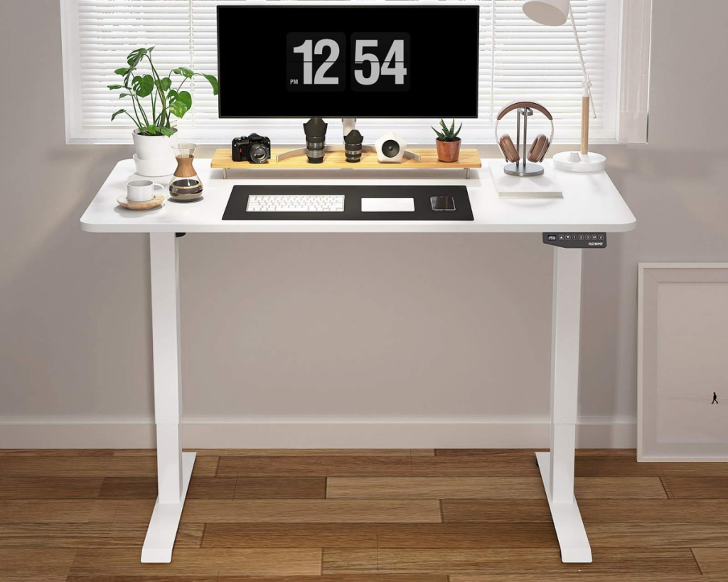 sit to stand desk white