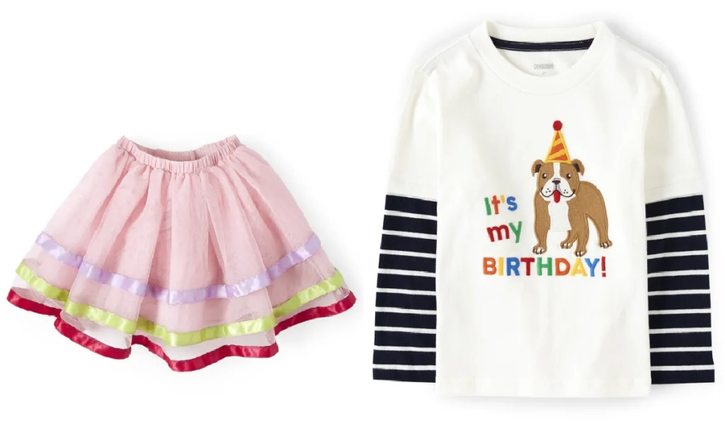 skirt and birthday shirt from gymboree
