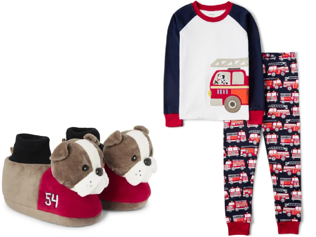 slippers and pajamas from gymboree