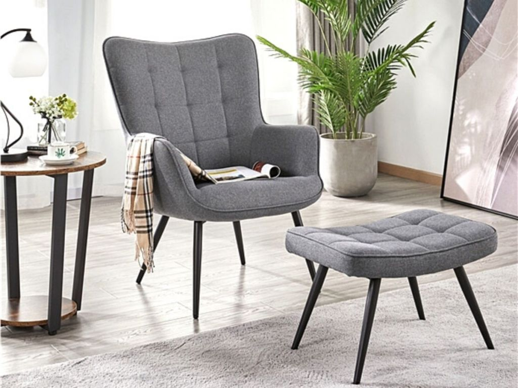 gray chair and ottoman in living room