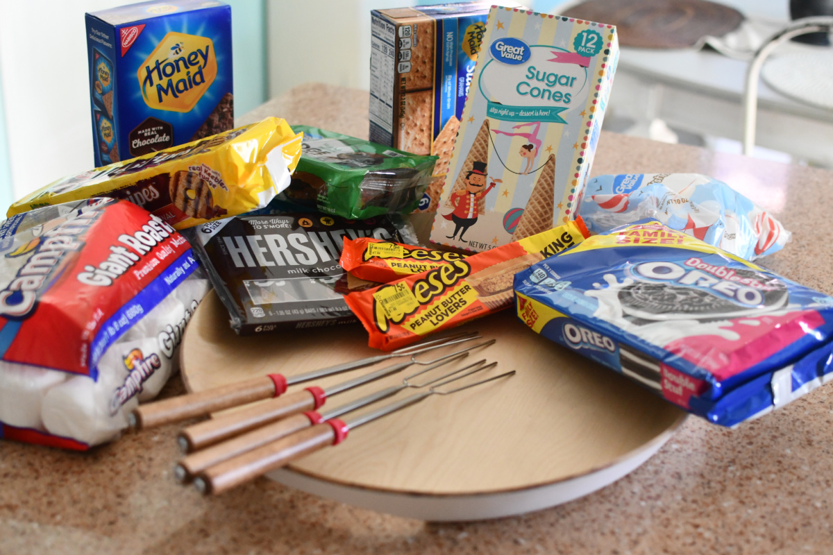 s'mores ingredients and tray for serving