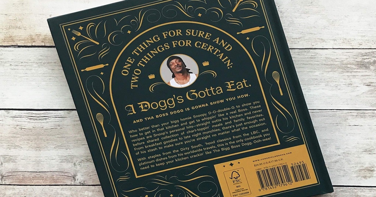 Snoop Dog Cook book, front cover is green and gold