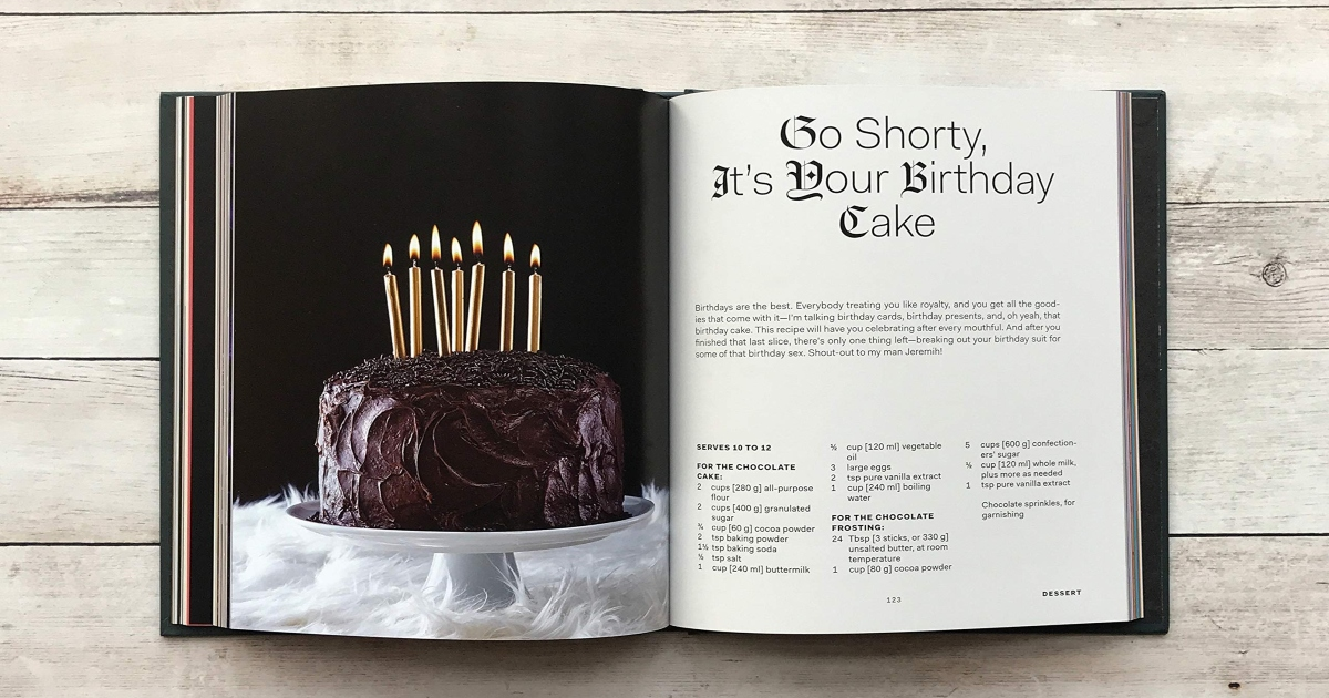 Snoop Dog Cook Book open to a chocolate Birthday cake recipe