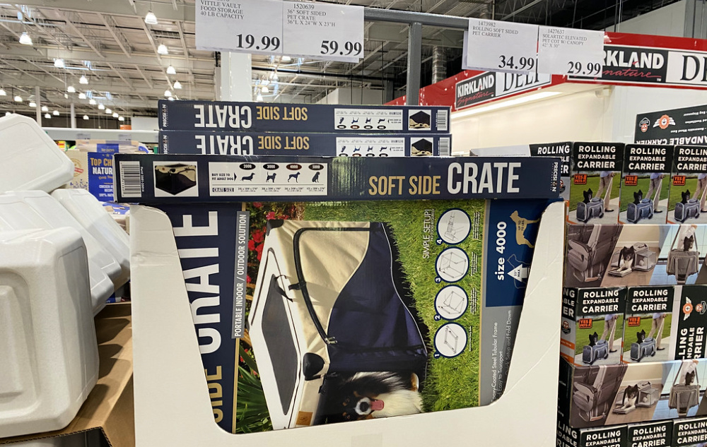 display of soft sided pet carriers in a costco store