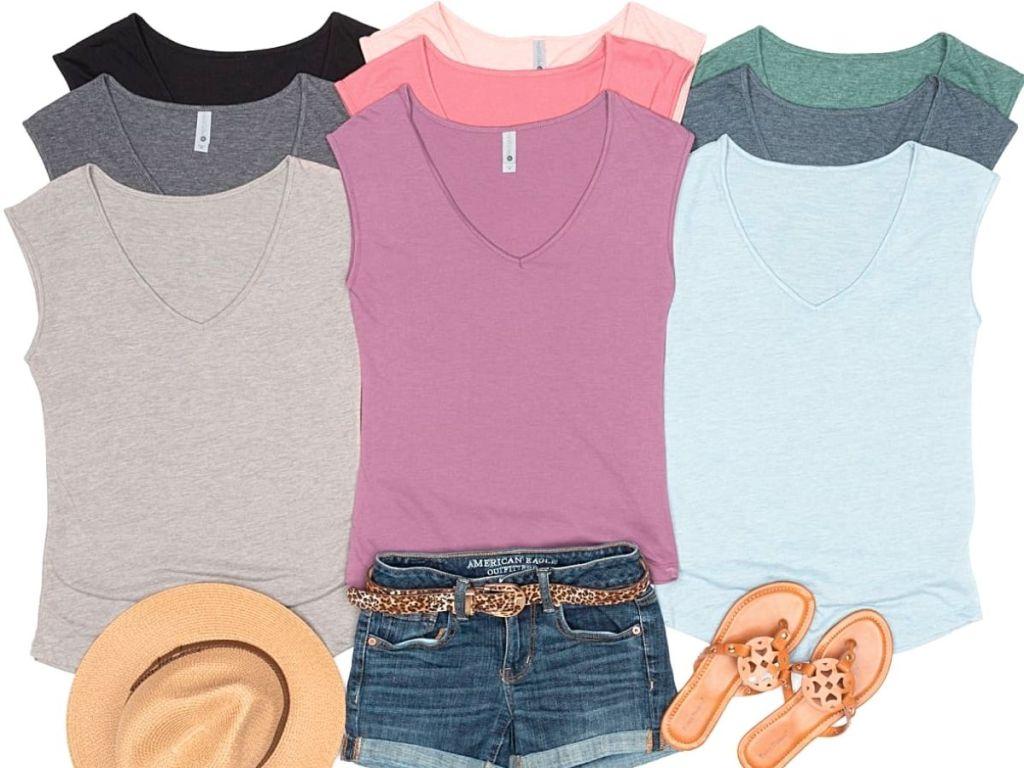 colorful sleeveless tees