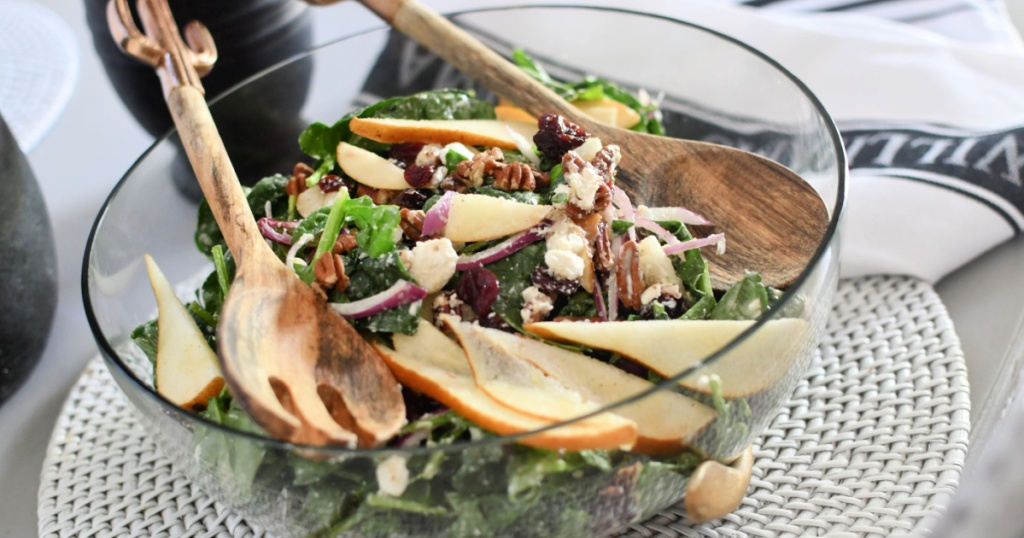 spinach salad tossed with homemade pear dressing