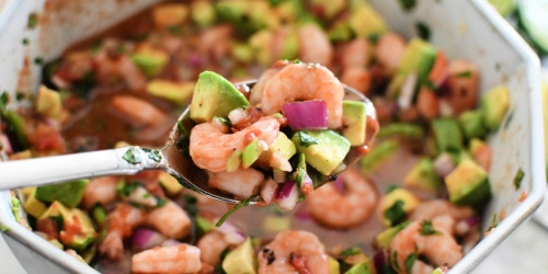 Marinated Mexican Shrimp Cocktail with Avocado is the Perfect Summer Snack!
