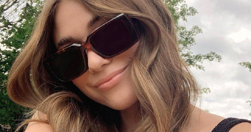 woman wearing prescription sunglasses outside