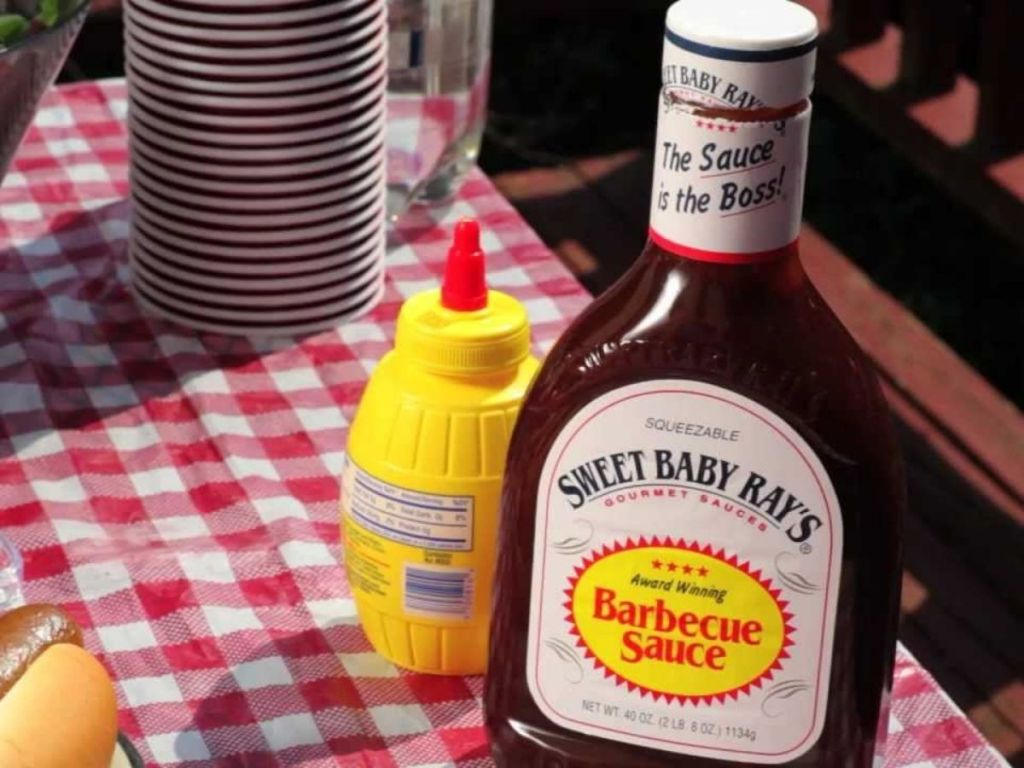 Sweet Baby Rays on picnic table