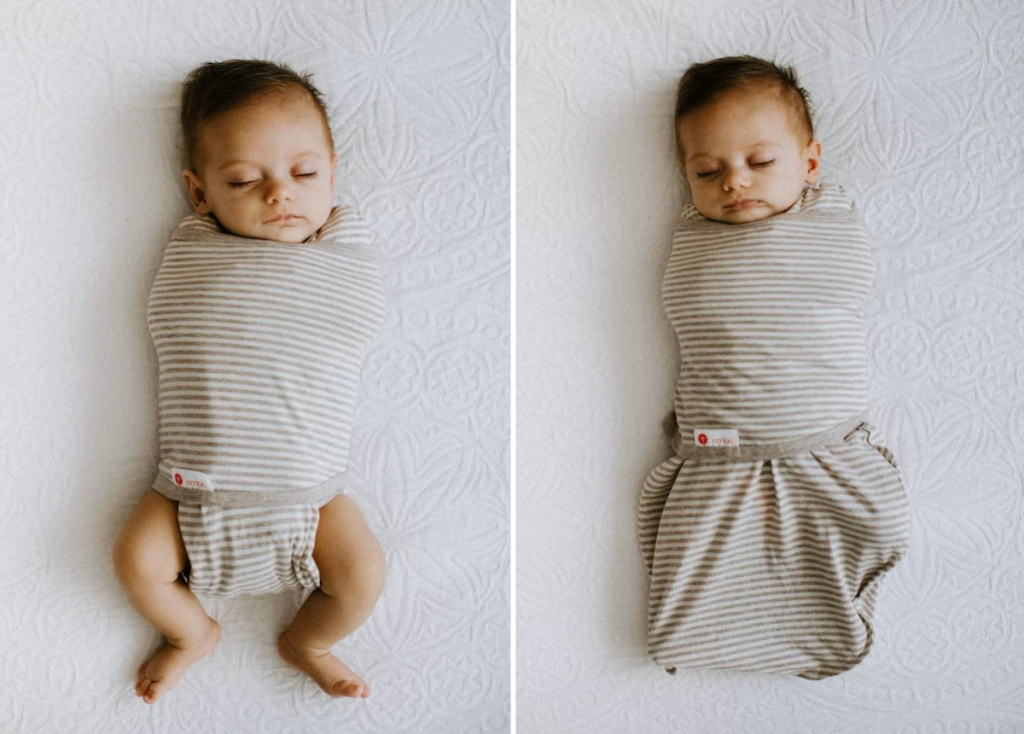 sleeping baby wearing swaddle two different ways