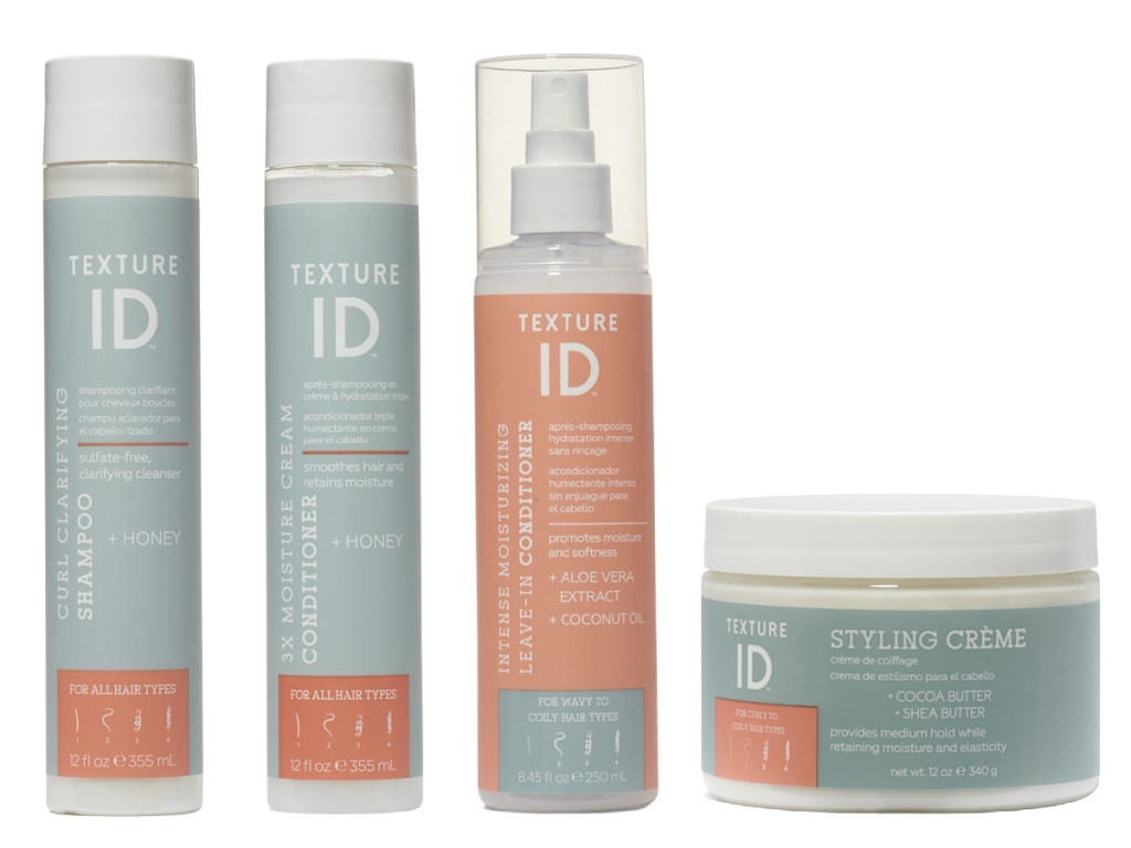 four texture ID hair care products