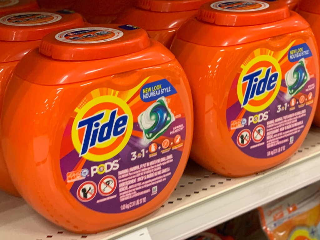containers of Tide Pods on store shelf