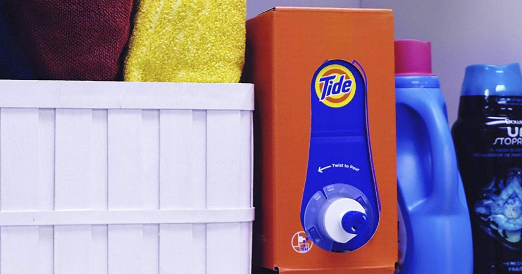 Tide detergent on laundry shelf