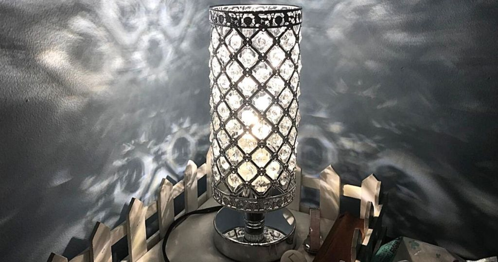 crystal lamp on side table