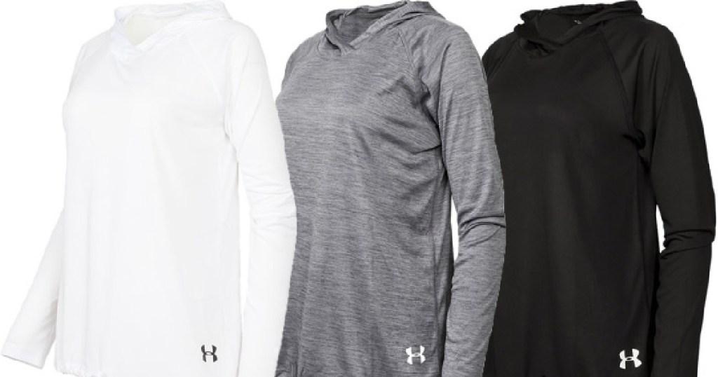 three stock images of white gray and black ua hoodies