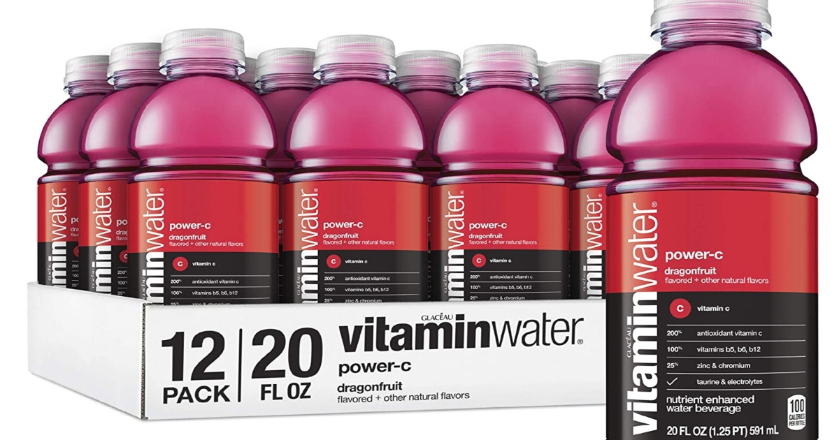 a pack of vitamin water Power C and one single vitamin water in front of it.
