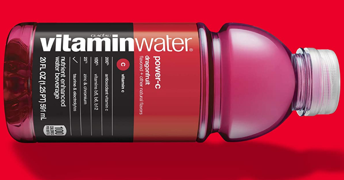 vitaminwater power-c bottle in front of a red background