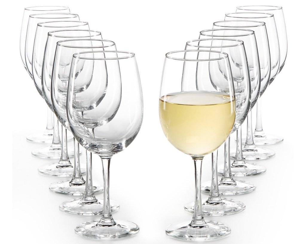 set of white wine glasses