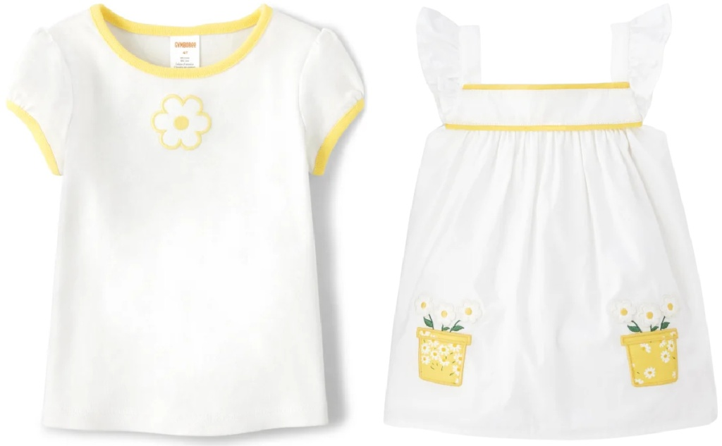yellow and white tops from gymboree