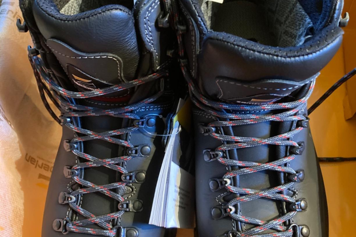 pair of black hiking boots