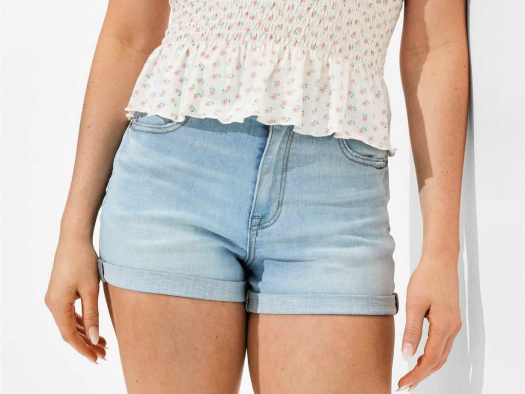 AE Ne(x)t Level Curvy High-Waisted Denim Short Shorts