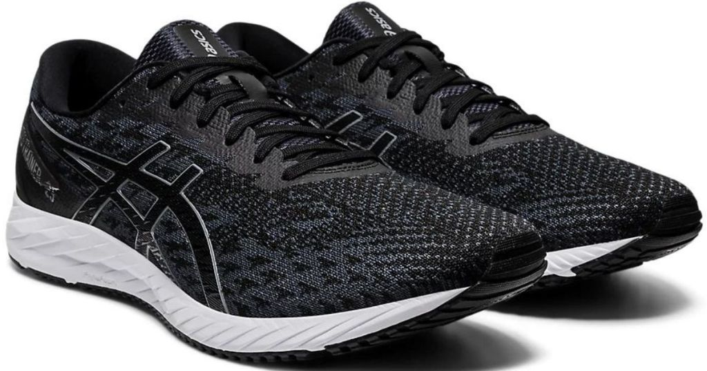 black and white running shoes