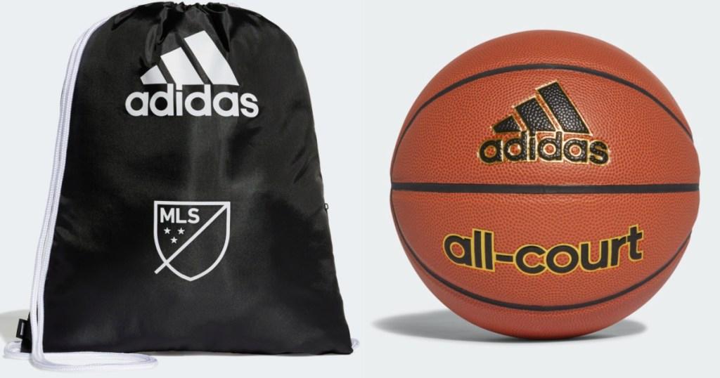 adidas backpack and basketball