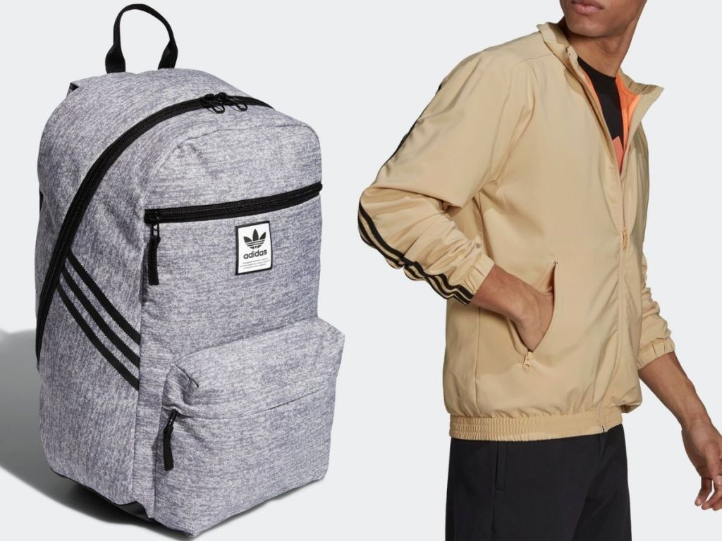 Adidas Backpack and men's track jacket