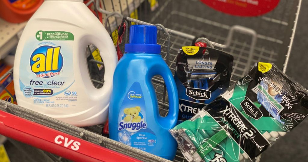 laundry detergent and razors in cart