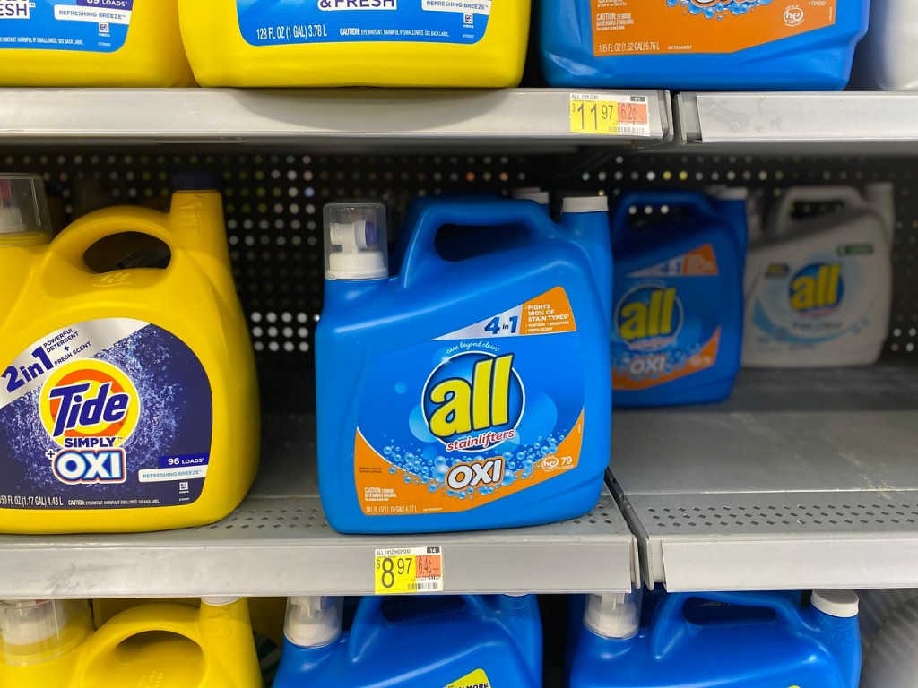 All Oxi Large Laundry Detergent on floor