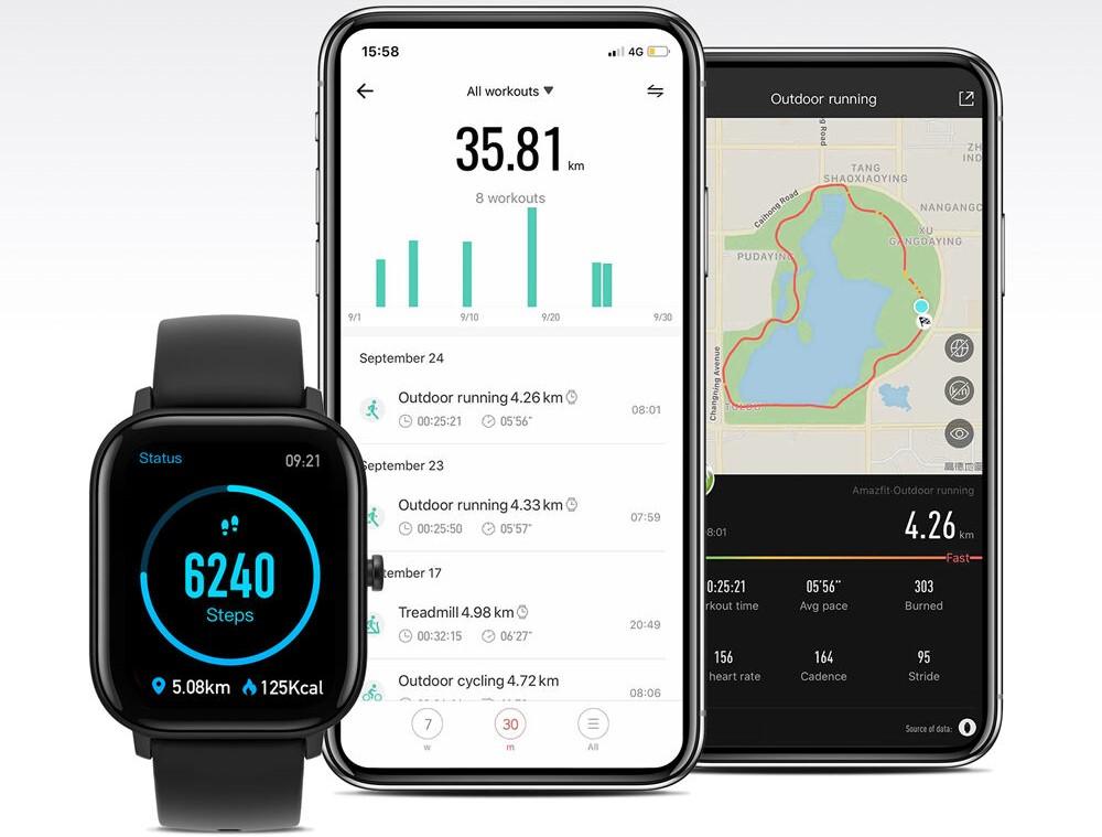 Amazfit Smartwatch next to two phones