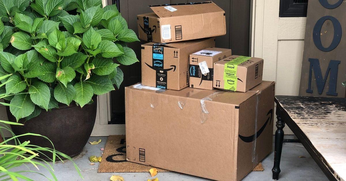 Doorstep with Amazon boxes