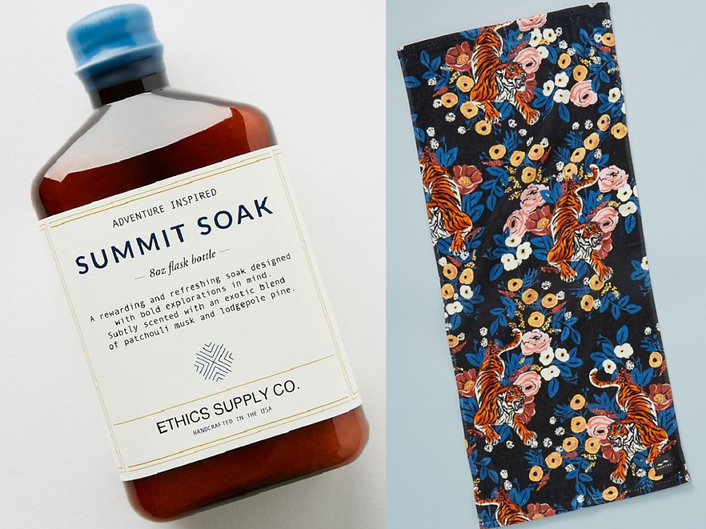 Anthropologie Ethics Supply Co. Adventure-Inspired Soothing Soak & Slowtide Khan Quick-Drying Yoga Towel