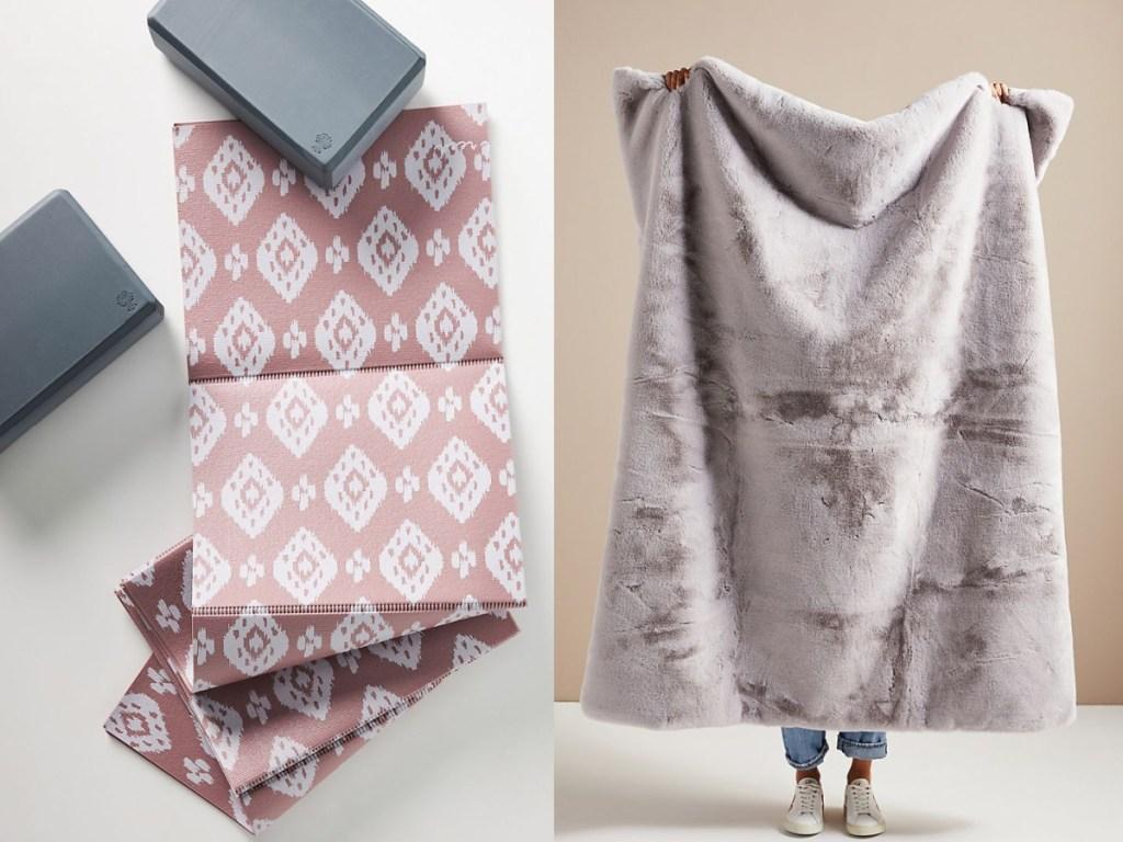 Anthropologie Oak and Reed Yoga Mat and Blocks Set & Hibernal Faux Fur Throw Blanket