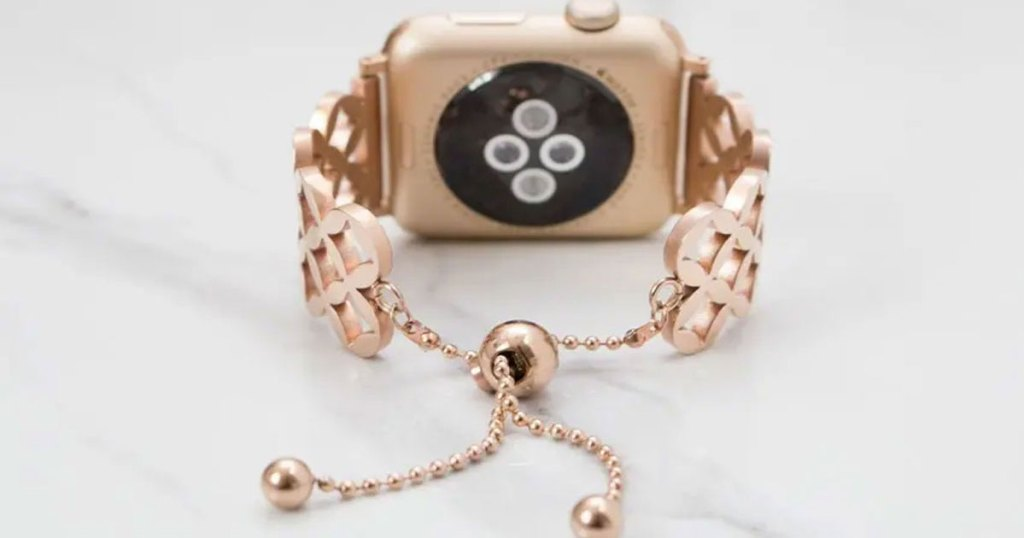 rose gold watch band on apple watch