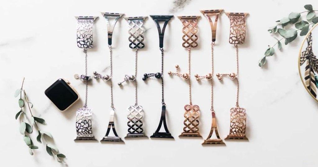 multiple apple watch bracelets in row