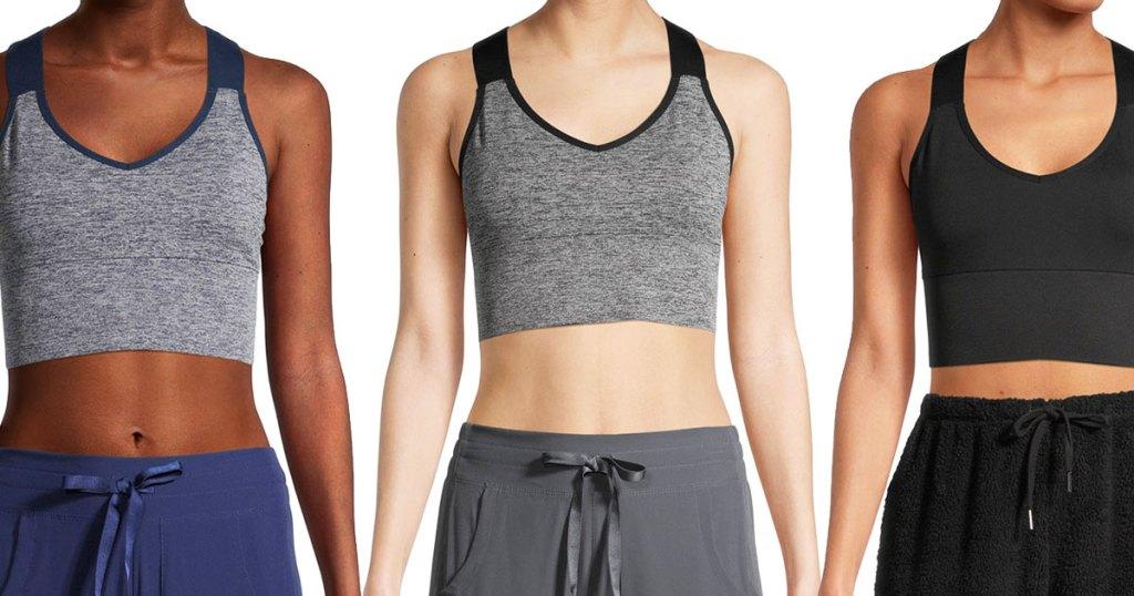 three women in sports bras