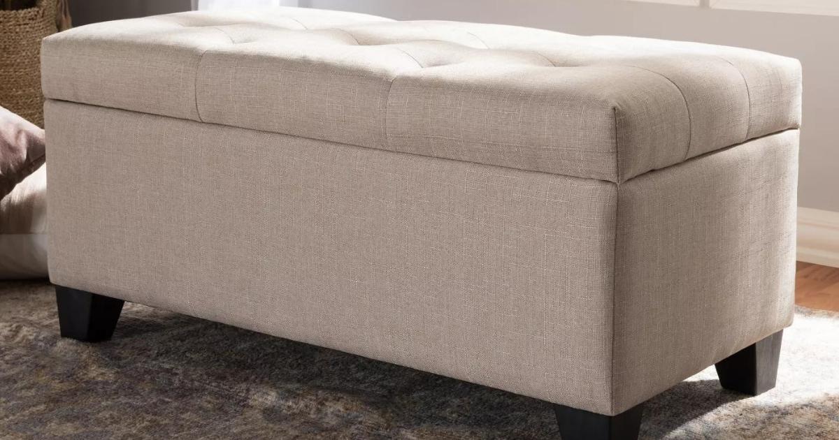 Baxton Studio Contemporary Fabric Upholstered Storage Ottoman