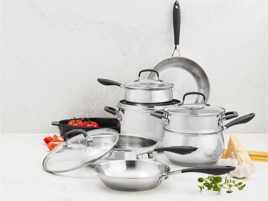 Belgique Stainless Steel 12-Pc. Cookware Set