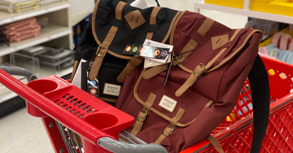 black and maroon backpack in cart