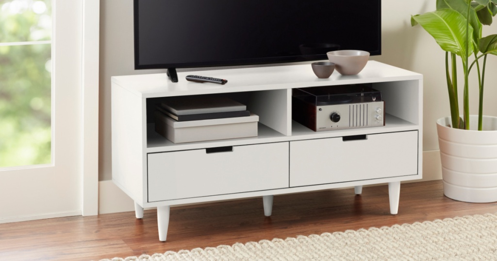 Better Homes And Gardens Flynn TV Stand in white in living room
