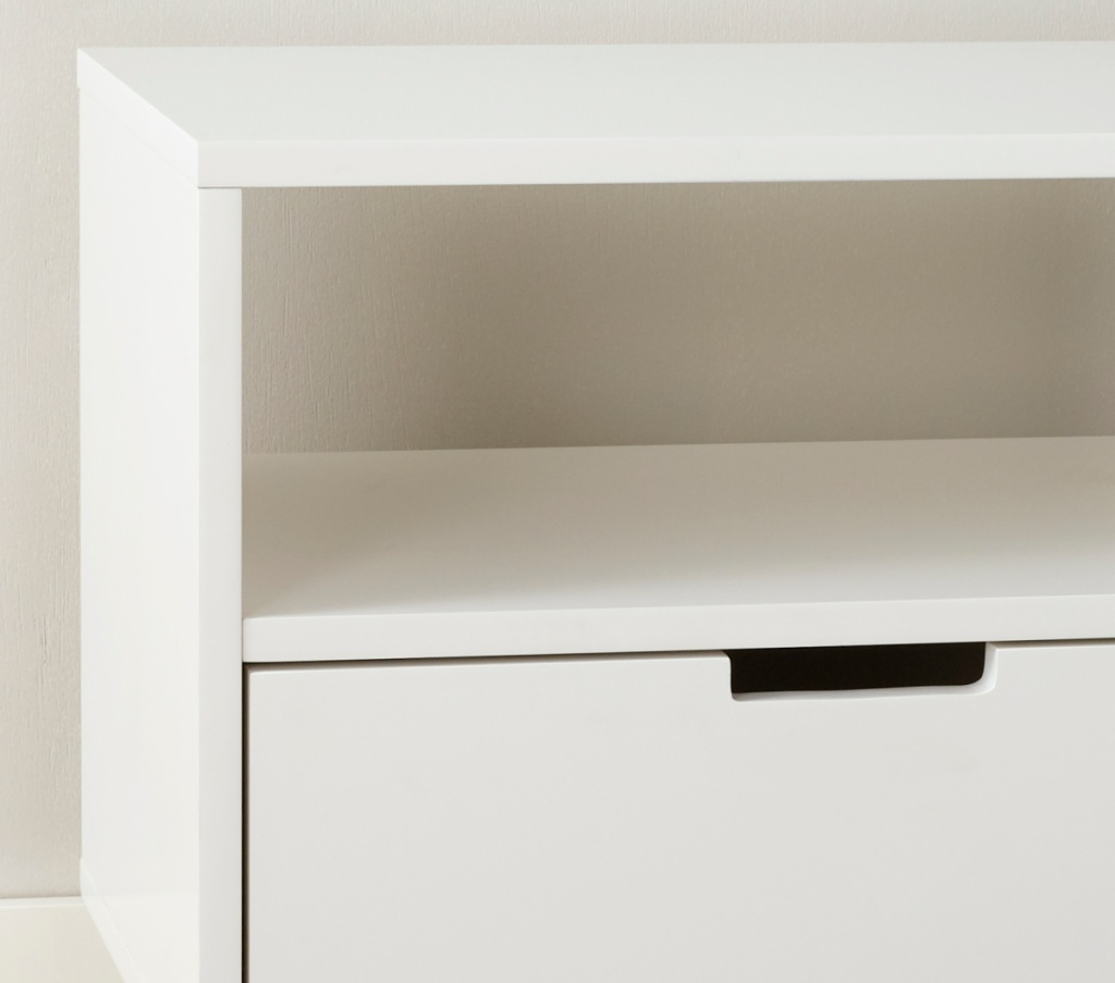 corner view of a white console table